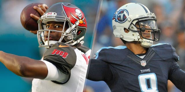 Sep 3, 2015; Miami Gardens, FL, USA; Tampa Bay Buccaneers quarterback Jameis Winston warms up before the game against the Miami Dolphins at Sun Life Stadium. Mandatory Credit: Andrew Innerarity-USA TODAY Sports Aug 23, 2015; Nashville, TN, USA; Tennessee Titans quarterback Marcus Mariota (8) passes against the St. Louis Rams during the first half at Nissan Stadium. Mandatory Credit: Jim Brown-USA TODAY Sports
