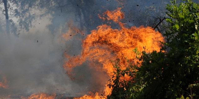 Sept. 10: A fire burns in the wooded lots west of Hawk Road Saturday, near Diana, Texas.