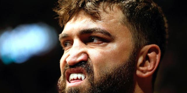 VANCOUVER, BC - JUNE 14: Andrei Arlovski prepares to enter the Octagon before his heavyweight bout against Brenand Schaub at Rogers Arena on June 14, 2014 in Vancouver, Canada. (Photo by Josh Hedges/Zuffa LLC/Zuffa LLC via Getty Images)