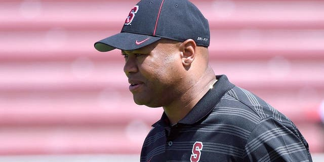 September 13, 2014; Stanford, CA, USA; Stanford Cardinal head coach David Shaw watches warm ups before the game against the Army Black Knights at Stanford Stadium. Mandatory Credit: Kyle Terada-USA TODAY Sports