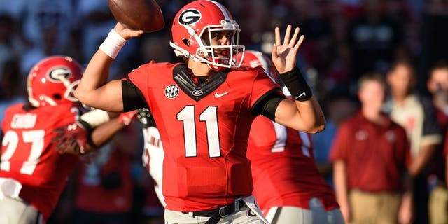 Sep 19, 2015; Athens, GA, USA; Georgia Bulldogs quarterback Greyson Lambert passes against the South Carolina Gamecocks during the first half at Sanford Stadium. Mandatory Credit: Dale Zanine-USA TODAY Sports