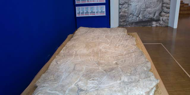 Sept. 24, 2015: A 2-meter-high, several thousand-year-old sculpture is pictured at the Mexican Cultural institute of Paris, France.