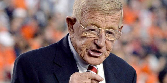 Jan 6, 2014; Pasadena, CA, USA; ESPN analyst Lou Holtz before the 2014 BCS National Championship game between the Auburn Tigers and the Florida State Seminoles at the Rose Bowl. Mandatory Credit: Jayne Kamin-Oncea-USA TODAY Sports
