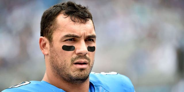 Sep 14, 2014; Charlotte, NC, USA; Detroit Lions tight end Joseph Fauria (80) on the sidelines in the first half at Bank of America Stadium. Mandatory Credit: Bob Donnan-USA TODAY Sports