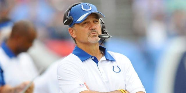 Sep 27, 2015; Nashville, TN, USA; Indianapolis Colts head coach Chuck Pagano during the second half against the Tennessee Titans at Nissan Stadium. Mandatory Credit: Christopher Hanewinckel-USA TODAY Sports
