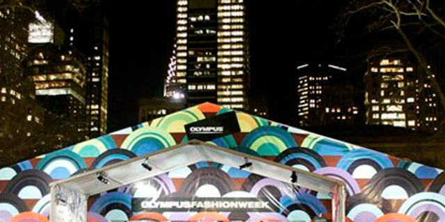 ** FILE ** In this Feb. 6, 2006 file photo, the tents in Bryant Park display festive colors during Fashion Week in New York. Mayor Michael Bloomberg and the organizers of Fashion Week announced Tuesday, Feb. 3, 2009, that the shows will move to Lincoln Center in September 2010. (AP Photo/Stuart Ramson, file)