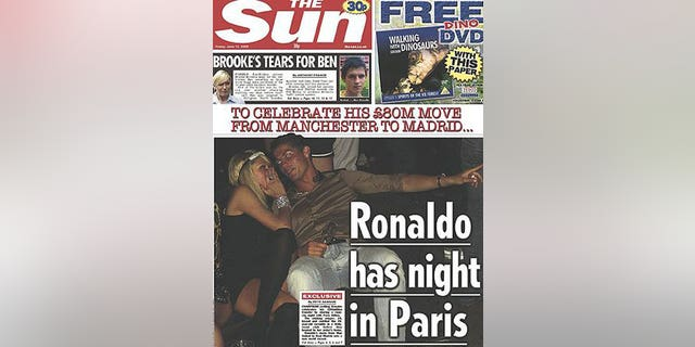 The Sun snapped Paris and Cristiano cuddling away at a club.