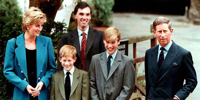 Princess Diana with sons Prince Harry and Prince William alongside ex-husband Prince Charles. They were accompanied by housemaster Dr. Andrew Gayley (behind) in 1995.