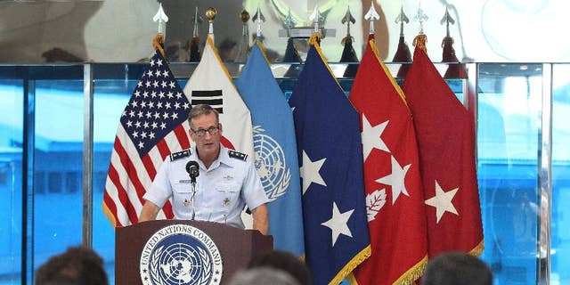 Then-Lt. Gen. Terrence O'Shaughnessy speaks in Paju, South Korea, July 27, 2015.