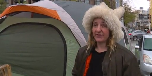 Melissa Burns said she recently moved to the camp after the group was forced out of a nearby park.