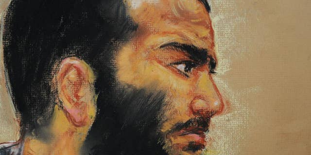 FILE - In this Dec. 12, 2008 file courtroom drawing by artist Janet Hamlin, reviewed by the US military, Canadian-born accused terrorist Omar Khadr attends a pre-trial session in Camp Justice on the U.S. Naval Base in Guantanamo Bay, Cuba. The Canadian government was in court Tuesday morning, May 5, 2015, seeking to block the release on bail of former Guantanamo Bay inmate Omar Khadr while he appeals his conviction for war crimes in the United States.(AP Photo/Janet Hamlin, Pool, File)