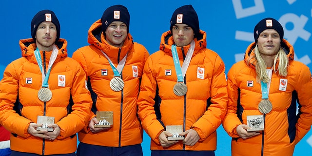 Blokhuijsen and the Dutch team won the bronze medal in men's team pursuit speed skating event.
