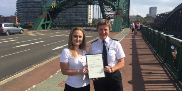 "Paige Hunter, left, was commended by Northumbia Police Chief Superintendent Sarah Pitt for leaving more than 40 ""heartfelt notes"" on the Wearmouth Bridge in Sunderland, England."