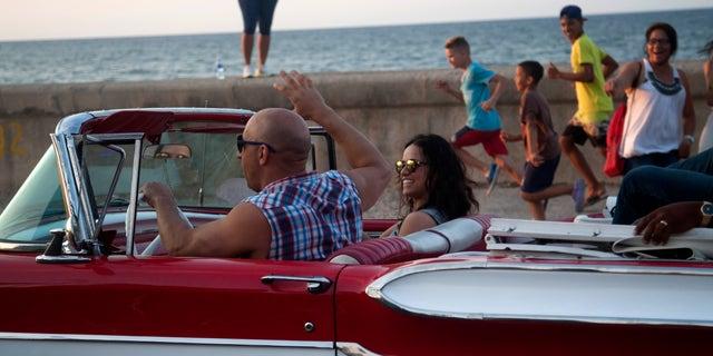 Actors Vin Diesel and Michelle Rodriguez on Havana's malecon, Thursday, April 28, 2016.