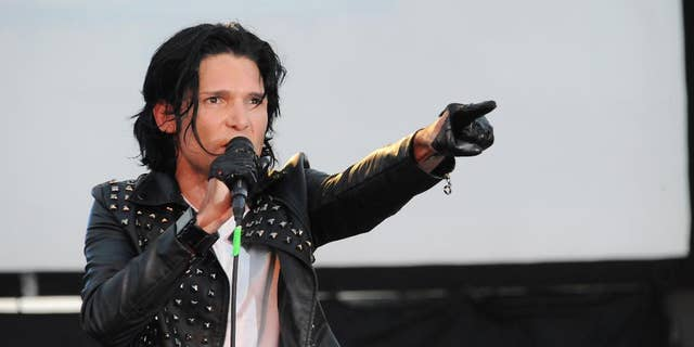 Corey Feldman addressed a crowd Monday after technical difficulties caused a delay in the premiere of his documentary.