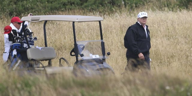 July 14: President Trump plays golf at Turnberry golf club in Scotland.