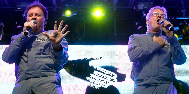 Mark Mothersbaugh and Gerald Casale of Devo perform at the Coachella Music Festival in Indio, California April 17, 2010.