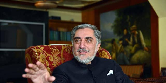 Abdullah Abdullah talks during an interview at his house in Afghanistan on March 19, 2013