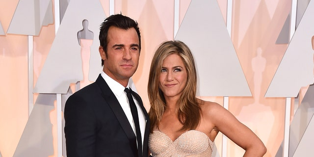 Theroux and Aniston at the 87th Annual Academy Awards.