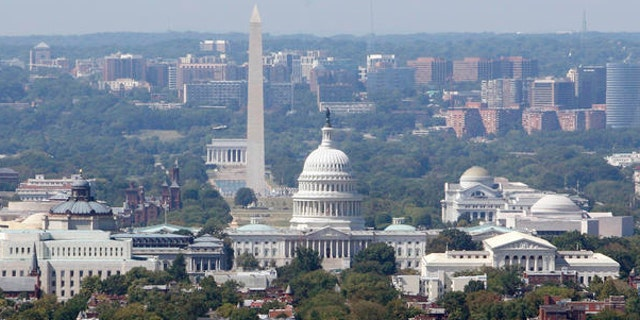 Aug. 2009: The Washington skyline featuring, from left, the Lincoln Memorial, Washington Monument and the Capitol.