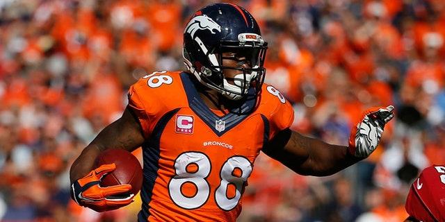 Denver Broncos wide receiver Demaryius Thomas, #88, is shown.