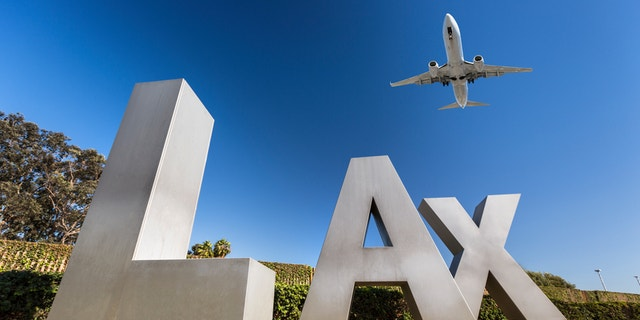 USA, California, Los Angeles, Road to International Los Angeles Airport, LAX sign
