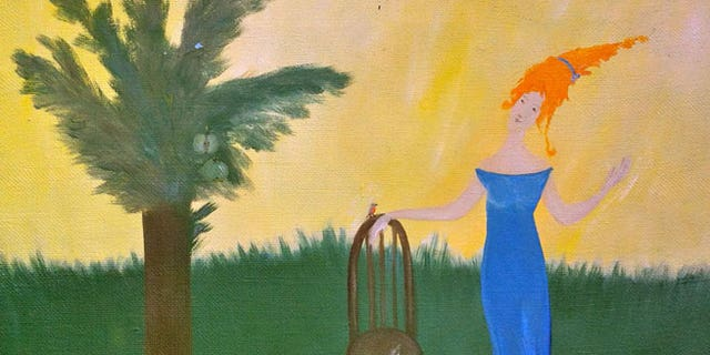 MALINOVKA (Robin)Tatyana Lyarson (Kazan, Russia) 199840cm x 50cm, oil on canvasPurchased at a Boston thrift storeThe young woman's head is slightly atilt under the weight of impossibly orange hair in this idyllic tableau. A tiny songbird has alighted from the dwarf tree bearing two green apples onto a one dimensional chair, contemplating the coiffure as a potential new home.