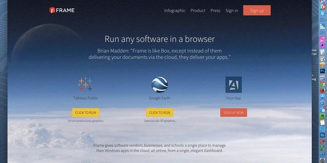 Screenshot of Frame homepage