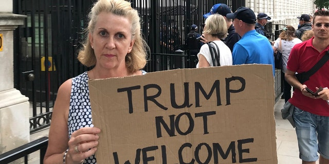 Lucy Wheeler was the first to the anti-Trump protest outside Downing Street.