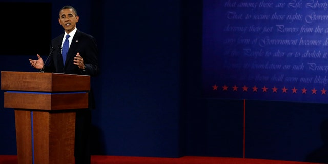 Oct. 3, 2012: President Barack Obama answers a question during the first presidential debate at the University of Denver.