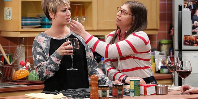 Raj's honesty about his past comes back to haunt him after his girlfriend, Emily, is cold to Penny (Kaley Cuoco-Sweeting, left, with  Mayim Bialik) (Sonja Flemming/CBS)