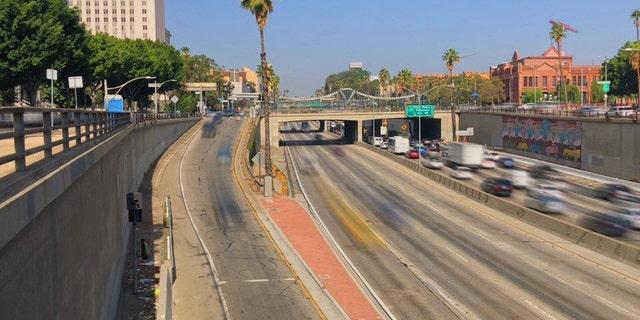 U.S. Highway 101 as it runs through Downtown Los Angeles, California.