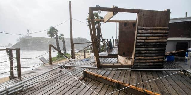 Oct. 13, 2016: A tiki bar lays in a shamble following Hurricane Nicole, in Tobacco Bay, St. Georges, Bermuda,.