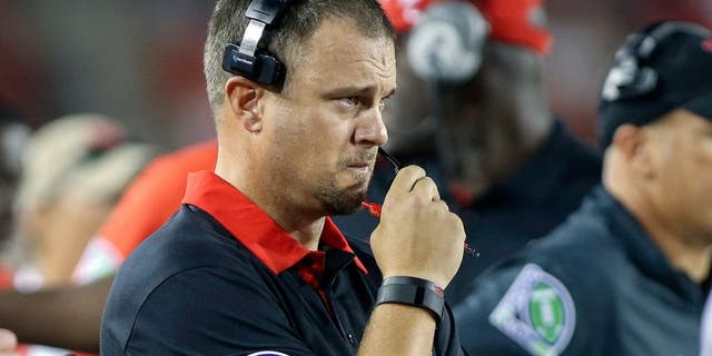 Sep 26, 2015; Houston, TX, USA; Houston Cougars head coach Tom Herman watches from the sideline during the first quarter against the Texas State Bobcats at TDECU Stadium. Mandatory Credit: Troy Taormina-USA TODAY Sports