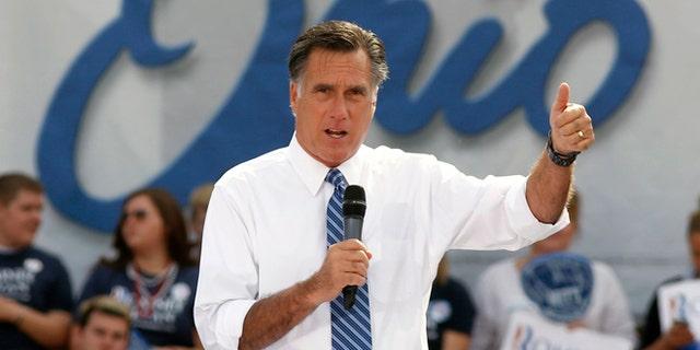 Oct. 13, 2012: Republican presidential candidate, former Massachusetts Gov. Mitt Romney speaks in Portsmouth, Ohio.
