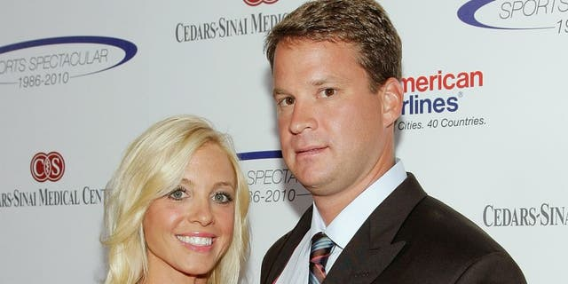 CENTURY CITY, CA - MAY 23: Lane Kiffin (R) and his wife Layla Kiffin attend the 25th anniversary of Cedars-Sinai Sports Spectacular Hyatt Regency Century Plaza on May 23, 2010 in Century City, California. (Photo by Noel Vasquez/Getty Images) *** Local Caption *** Lane Kiffin;Layla Kiffin