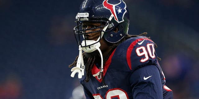 Oct 8, 2015; Houston, TX, USA; Houston Texans defensive end Jadeveon Clowney (90) prior to the game against the Indianapolis Colts at NRG Stadium. Mandatory Credit: Matthew Emmons-USA TODAY Sports