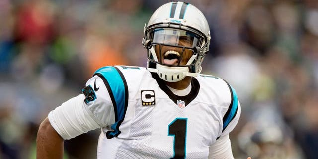 Oct 18, 2015; Seattle, WA, USA; Carolina Panthers quarterback Cam Newton (1) reacts to a play against the Seattle Seahawks during the first half at CenturyLink Field. Mandatory Credit: Troy Wayrynen-USA TODAY Sports