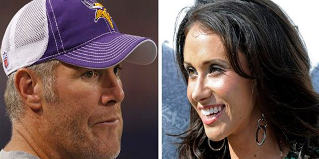 """FILE - At left, in a Sept. 2, 2010, file photo,  is Minnesota Vikings quarterback Brett Favre before an NFL football game against the Denver Broncos, in Minneapolis. At right, in a Sept. 14, 2008, file photo, is Jenn Sterger on the sideline before an NFL football game between the New York Jets and New England Patriots, in East Rutherford, N.J.  The ex-New York Jets employee involved in the allegation against Favre has hired a lawyer. Sterger's manager Phil Reese says Wednesday, Oct. 20, 2010, the decision was made """"after much deliberation."""" (AP Photo/File)"""