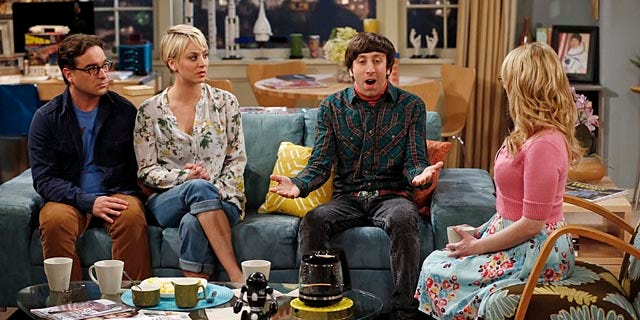 Johnny Galecki, Kaley Cuoco-Sweeting, Simon Helberg and Melissa Rauch discuss money on 'The Big Bang Theory'. (Monty Brinton/CBS)
