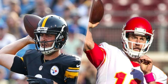 Aug 29, 2015; Orchard Park, NY, USA; Pittsburgh Steelers quarterback Landry Jones (3) during the game against the Buffalo Bills at Ralph Wilson Stadium. Mandatory Credit: Kevin Hoffman-USA TODAY Sports Oct 18, 2015; Minneapolis, MN, USA; Kansas City Chiefs quarterback Alex Smith (11) throws prior to the game against the Minnesota Vikings at TCF Bank Stadium. Mandatory Credit: Brace Hemmelgarn-USA TODAY Sports