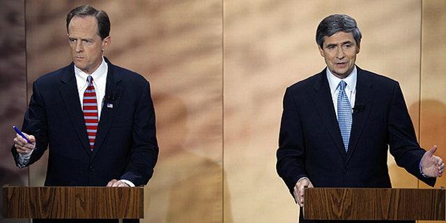 Oct. 20: Pennsylvania Senate candidates Republican Pat Toomey, left, and Democratic Rep. Joe Sestak debate at at the National Constitution Center in Philadelphia.
