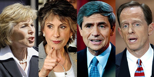 From left: California Democratic Sen. Barbara Boxer, Republican challenger Carly Fiorina; Pennsylvania Senate candidate Democratic Rep. Joe Sestak, Republican rival Pat Toomey.