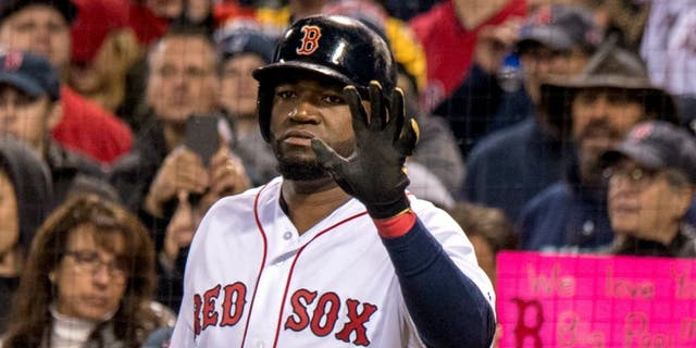 BOSTON, MA - OCTOBER 10: David Ortiz #34 of the Boston Red Sox reacts on deck before the final at bat of his career during the eighth inning of game three of the American League Division Series against the Cleveland Indians on October 10, 2016 at Fenway Park in Boston, Massachusetts. (Photo by Billie Weiss/Boston Red Sox/Getty Images) *** Local Caption *** David Ortiz