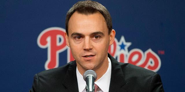 Philadelphia Phillies incoming general manager and vice president Matt Klentak speaks during a news conference Monday, Oct. 26, 2015, in Philadelphia. The 35-year-old Klentak becomes the youngest GM in team history. He had been the Angels assistant GM since November 2011. (AP Photo/Matt Rourke)