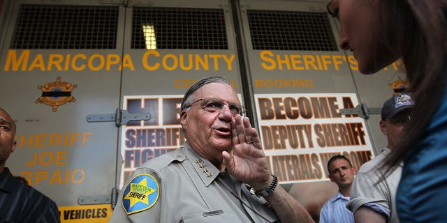 PHOENIX - JULY 29:  Maricopa County Sheriff Joe Arpaio speaks to the media in front of his county jail on July 29, 2010 in Phoenix, Arizona, the day Arizona's immigration enforcement law SB 1070 went into effect. Although U.S. District Court Judge Susan Bolton suspended several controversial provisions of the law the previous day, Arpaio said he did not need the law in order to detain undocumented immigrants during his planned crime sweep in Phoenix.  (Photo by John Moore/Getty Images)