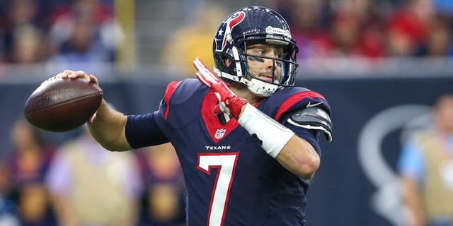 Nov 1, 2015; Houston, TX, USA; Houston Texans quarterback Brian Hoyer (7) attempts a pass during the fourth quarter against the Tennessee Titans at NRG Stadium. Mandatory Credit: Troy Taormina-USA TODAY Sports