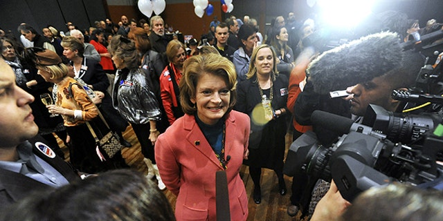 Nov. 2: Sen. Lisa Murkowski, R-Alaska, speaks with media outlets in Anchorage following early election returns.