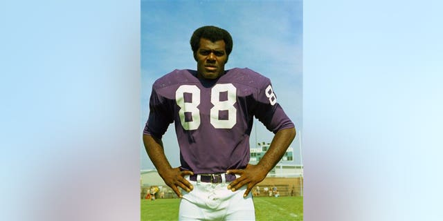 This 1973 photo shows Minnesota Vikings football player Alan Page. From the NBA's Chris Dudley and Shawn Bradley to the NFL's Alan Page, Heath Shuler and Jon Runyan to pro wrestling's Linda McMahon, some two dozen sports figures are up for election. (AP Photo/File)
