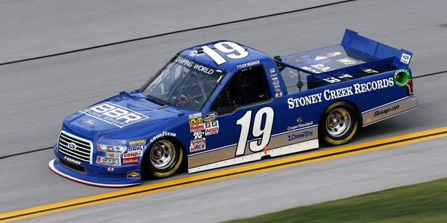 TALLADEGA, AL - OCTOBER 24: Tyler Reddick, driver of the #19 Stoney Creek Records Ford, qualifies for the NASCAR Camping World Truck Series fred's 250 at Talladega Superspeedway on October 24, 2015 in Talladega, Alabama. (Photo by Todd Warshaw/Getty Images)